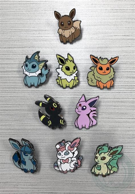 Pokemon Eeveelution émail dur Pins Evoli Aquali Voltali