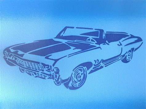 American classic muscle car, stencils & spray paints on