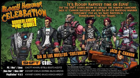 Borderlands: The Pre-Sequel Bloody Harvest SHiFT Codes