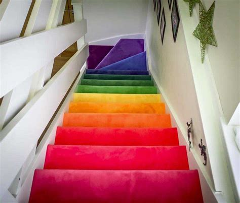 Rainbow carpet for stairs