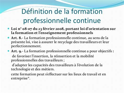 formation continue def - Une formation professionnelle