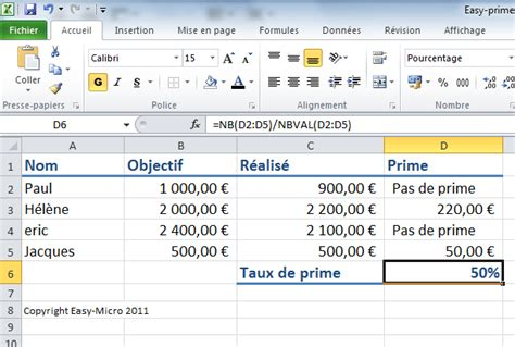 Easy-Micro [ EXCEL BASE - Taux de prime ] - Formations