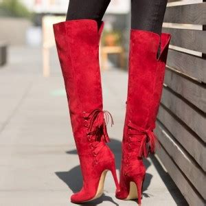 Women's 4 Inch Heels Red Stiletto Boots Knee-high Boots by