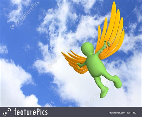 3D Person, Flying On Artificial Wings Image
