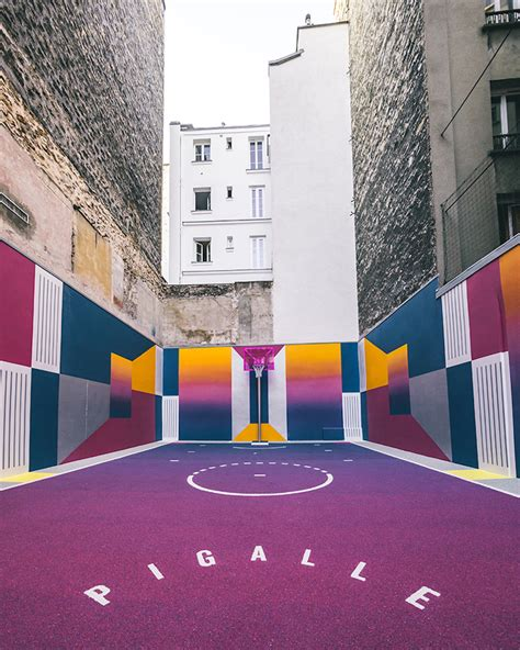 Vibrant Basketball Court Sandwiched Between Apartment