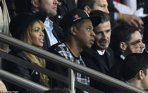 Beyonce, Jay Z and David Beckham watch PSG's Champions