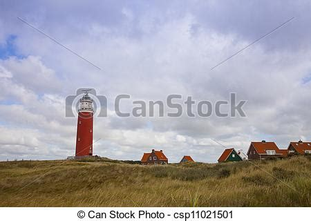 Phare, pays-bas, île, texel, maisons, rouges