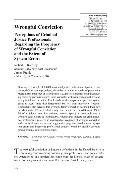 Wrongful ConvictionPerceptions of Criminal Justice