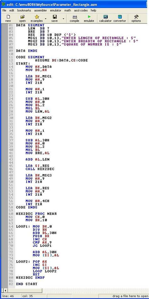 An assembly program to find the perimeter of a rectangle