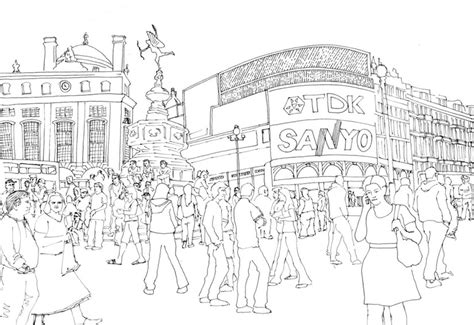 Coloriage anti-stress Londres : Piccadilly Circus 13